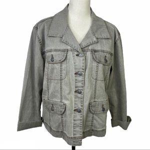 Chico's Gray Washed Denim Jacket Size Large